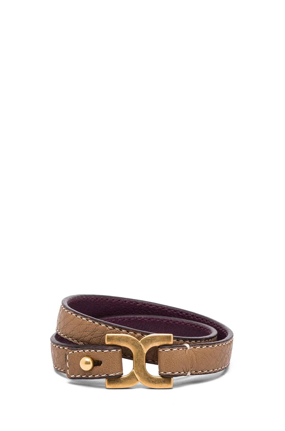 Image 1 of Chloe Marcie Leather Wrap Bracelet in Nut