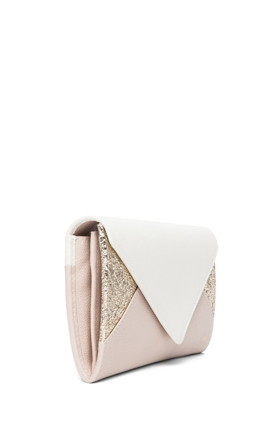 Image 3 of Chloe Patchwork Flap Wallet in Marble White