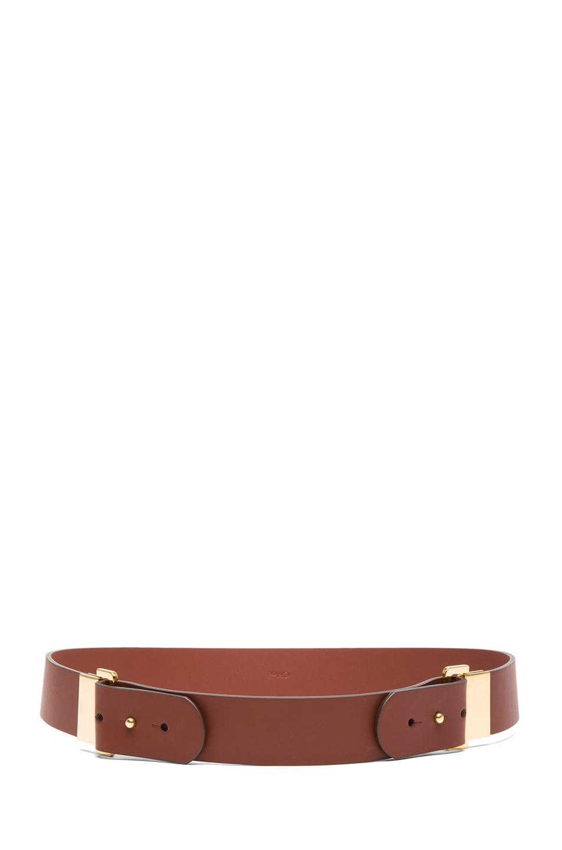 Image 2 of Chloe Sliders Calfskin Leather Belt in Brownie Brown