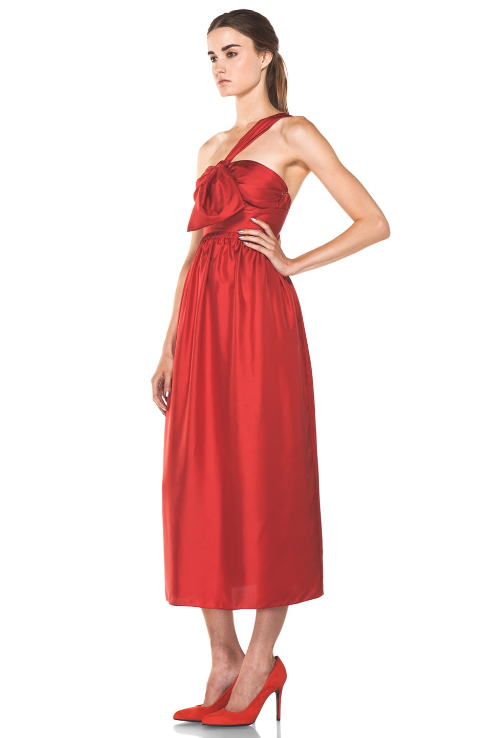 Image 2 of Chloe One Shoulder Silk Bow Dress in Red