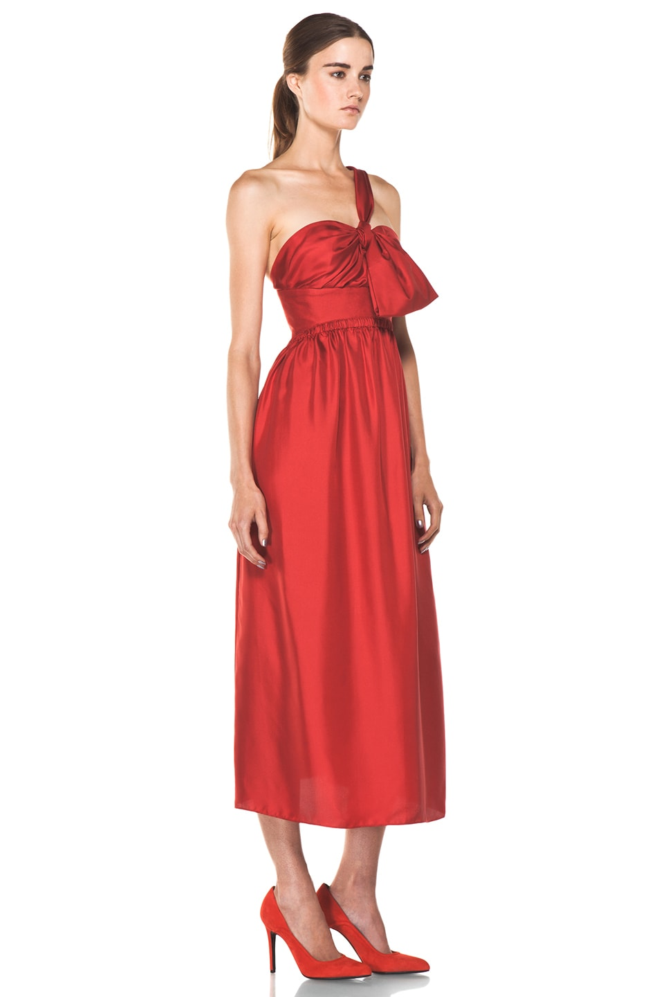 Image 3 of Chloe One Shoulder Silk Bow Dress in Red