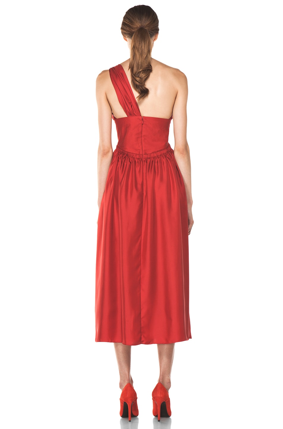 Image 4 of Chloe One Shoulder Silk Bow Dress in Red