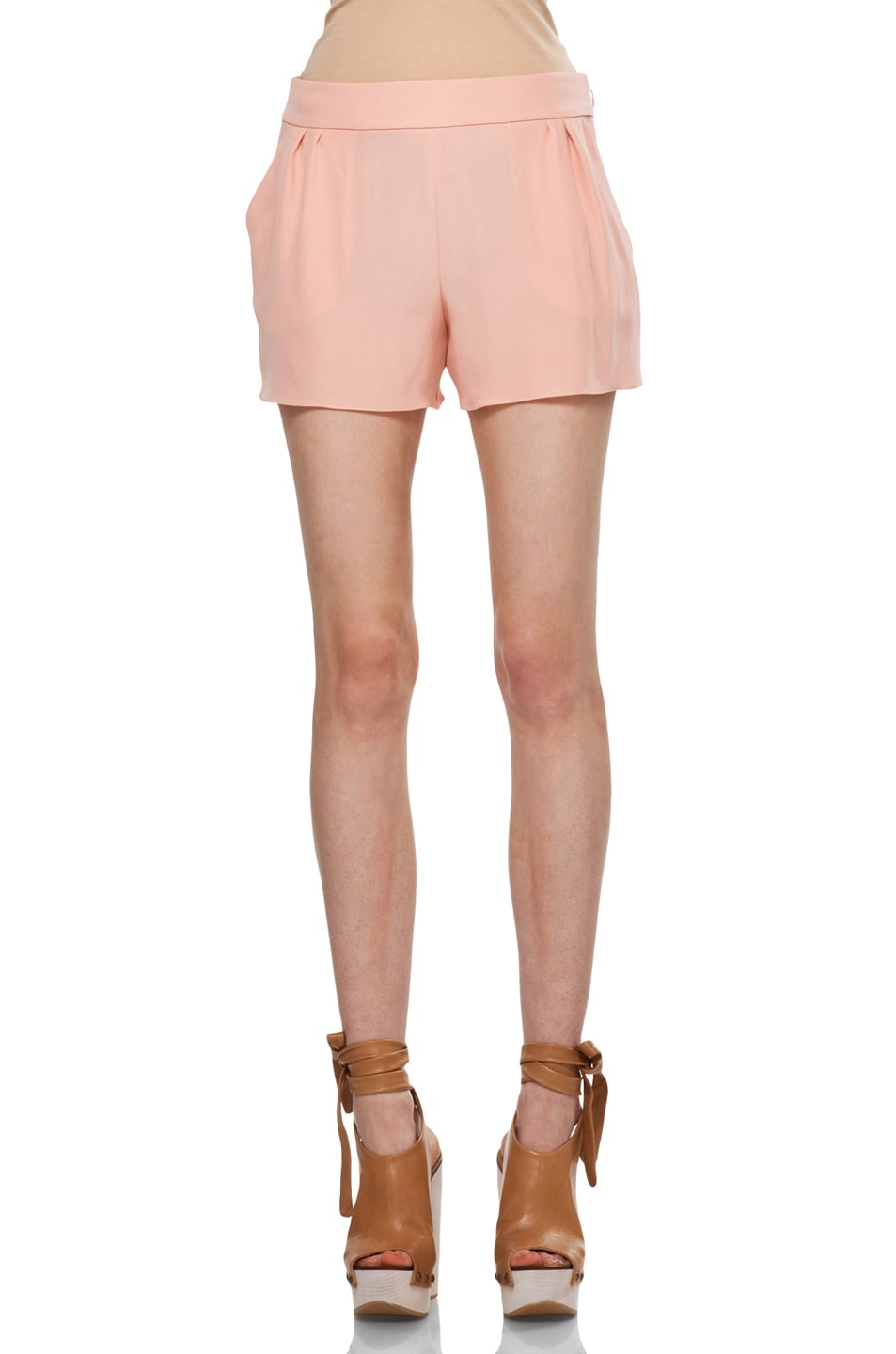 Image 1 of Chloe Silk Shorts in Peach
