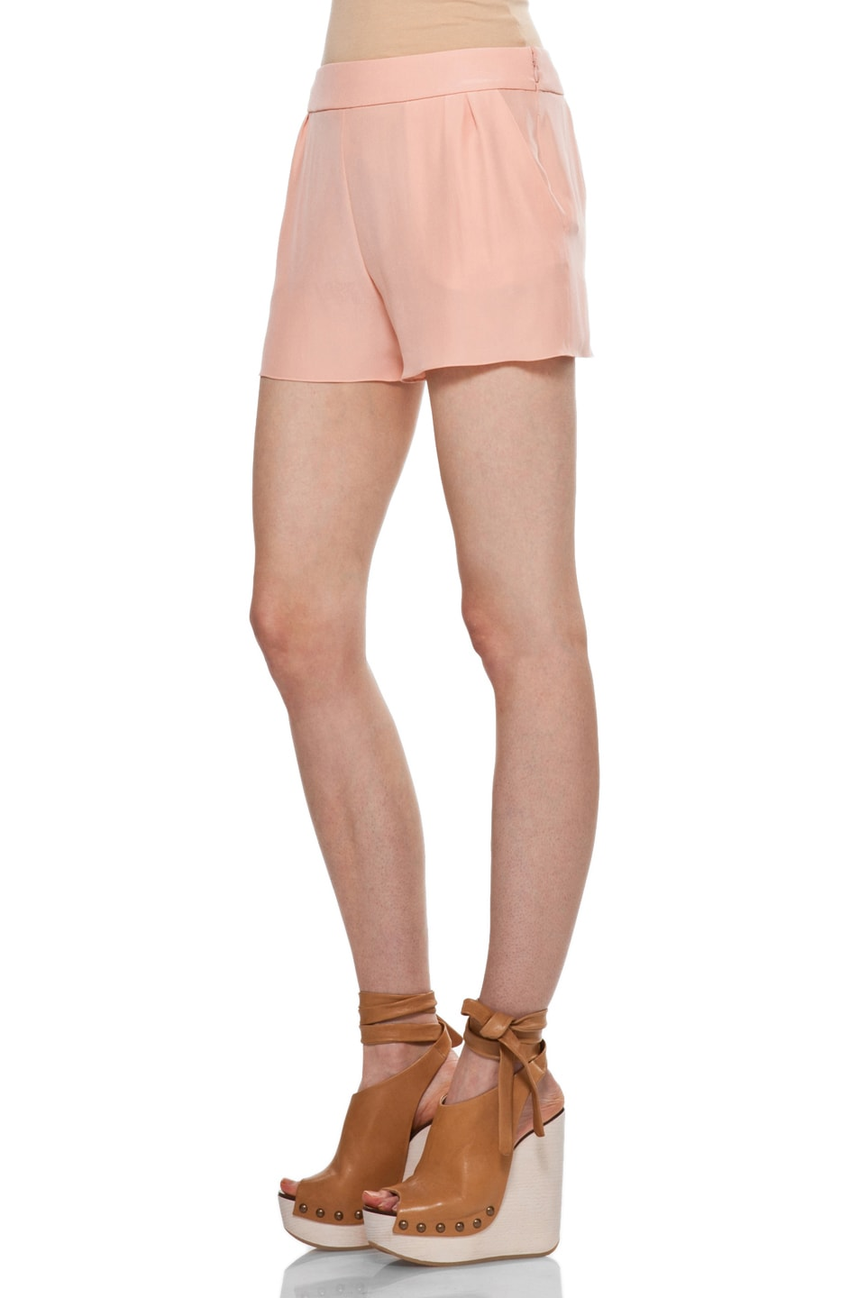 Image 2 of Chloe Silk Shorts in Peach
