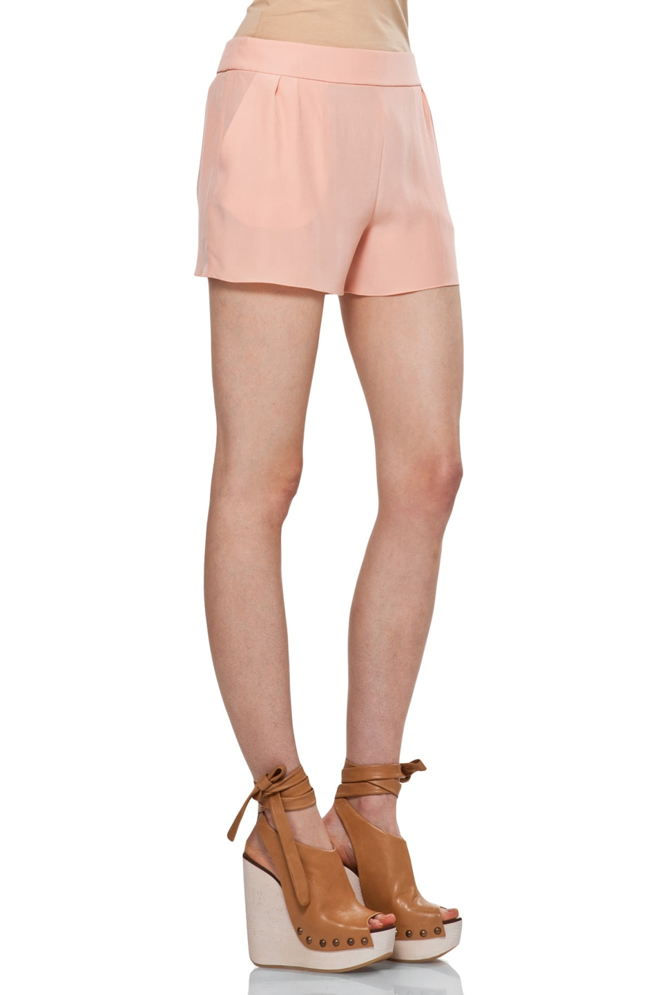 Image 3 of Chloe Silk Shorts in Peach