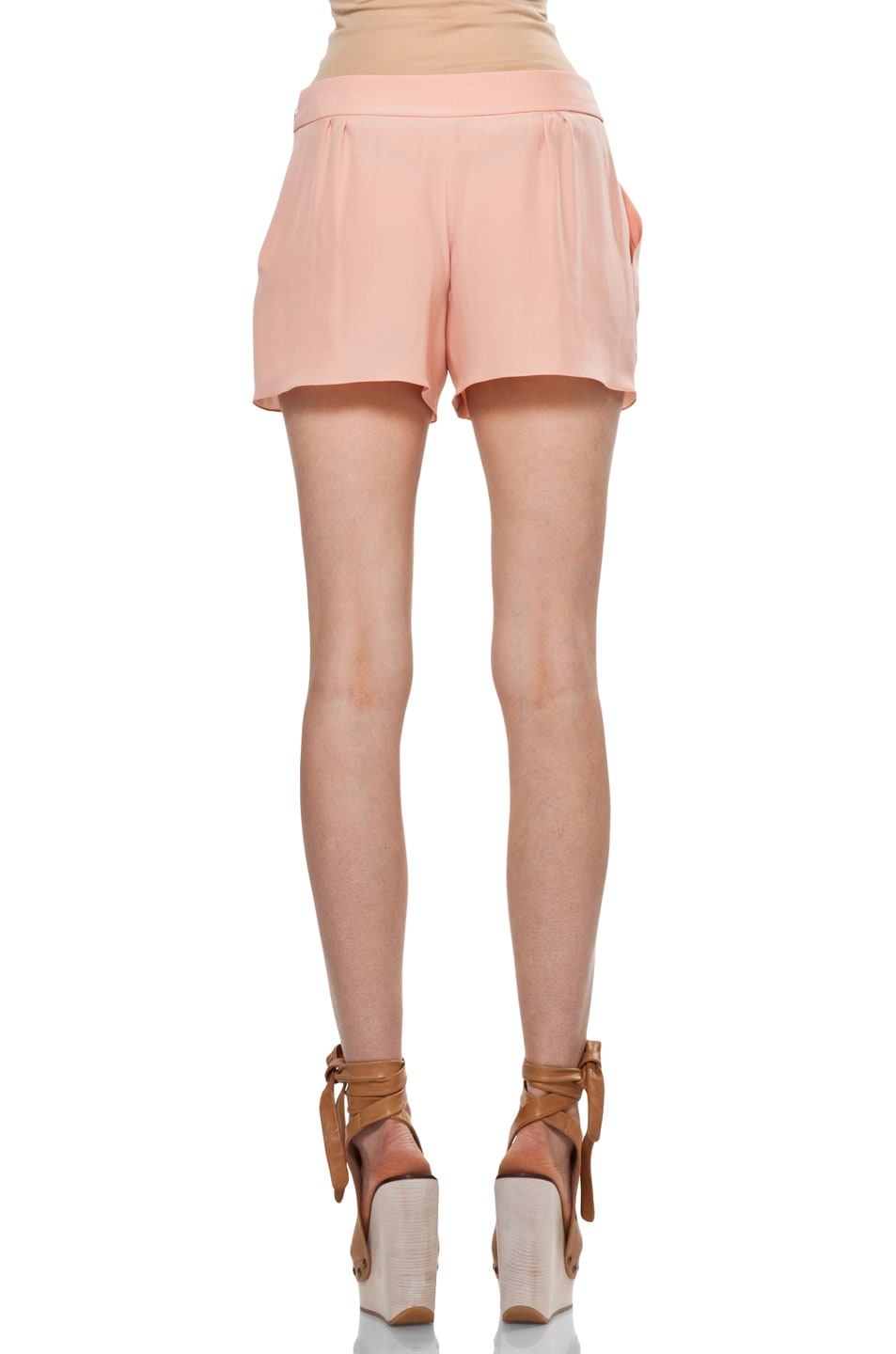 Image 4 of Chloe Silk Shorts in Peach