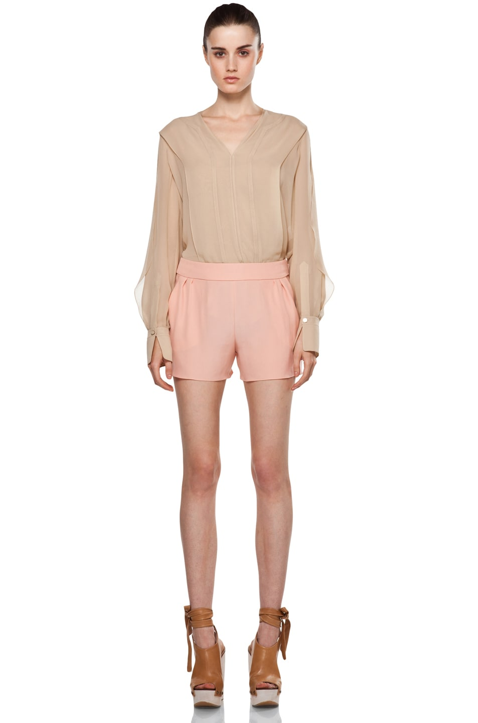 Image 5 of Chloe Silk Shorts in Peach