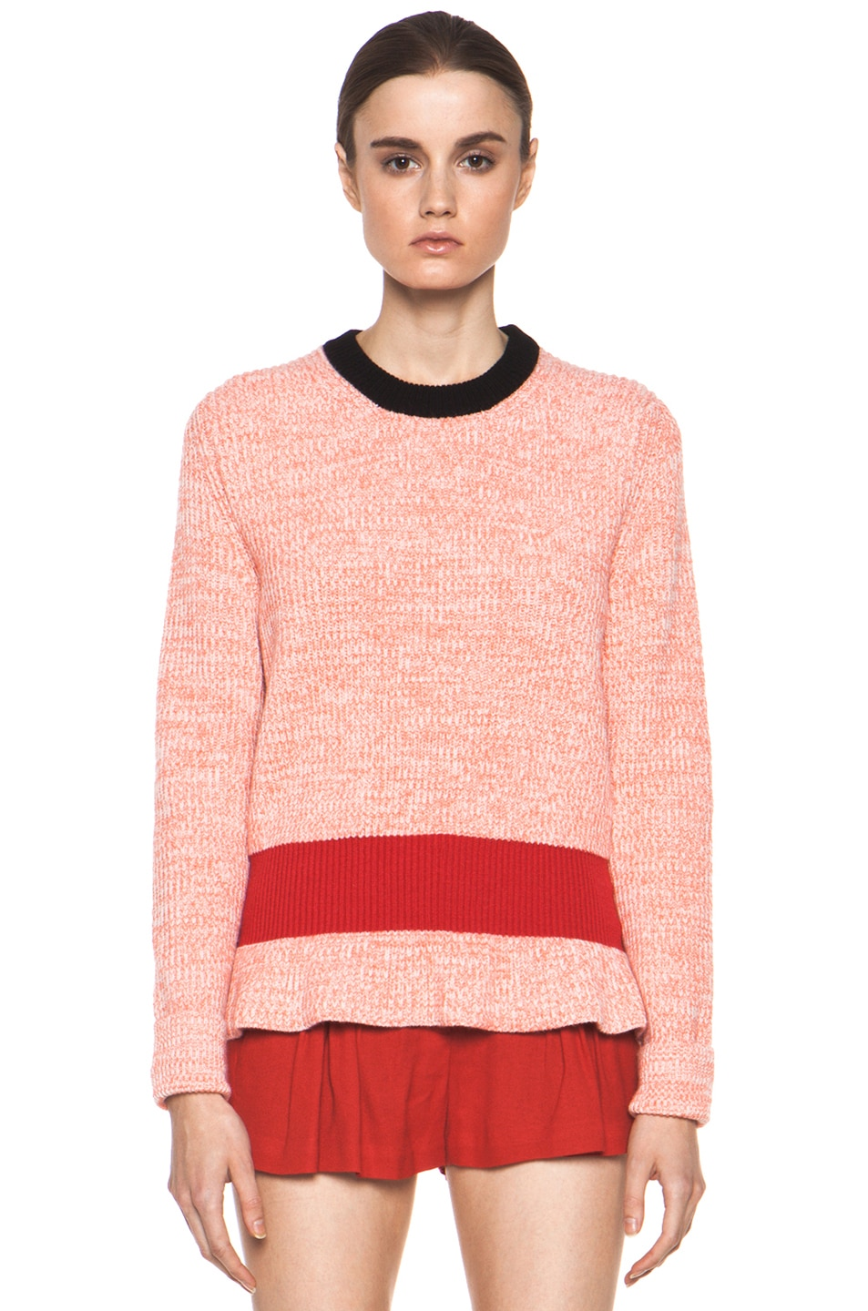 Image 1 of Chloe Cashmere Color Block Rib Sweater in Coral & Red & Navy