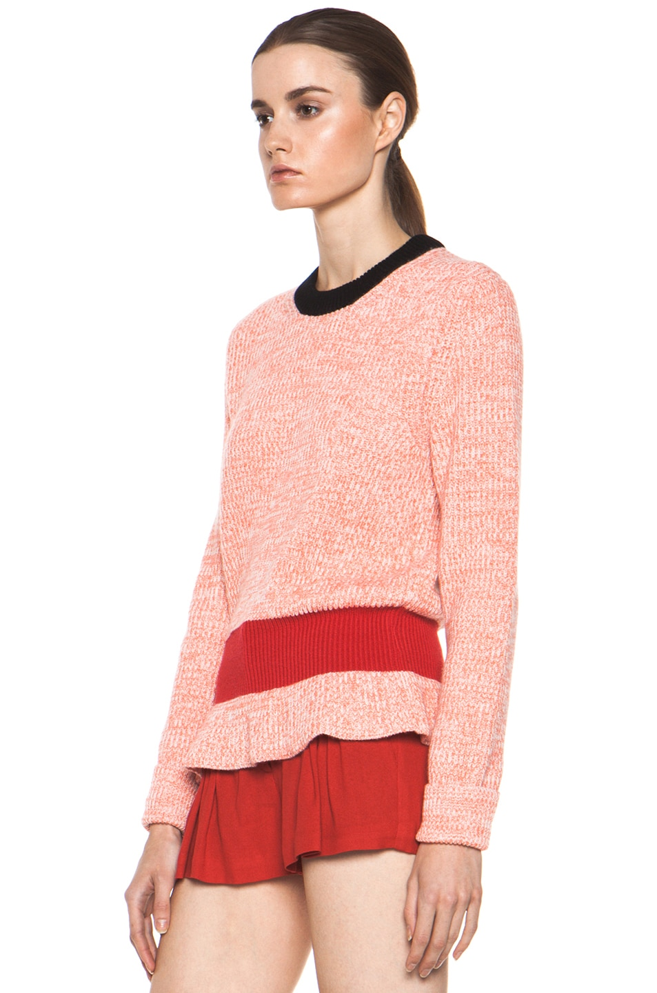 Image 2 of Chloe Cashmere Color Block Rib Sweater in Coral & Red & Navy