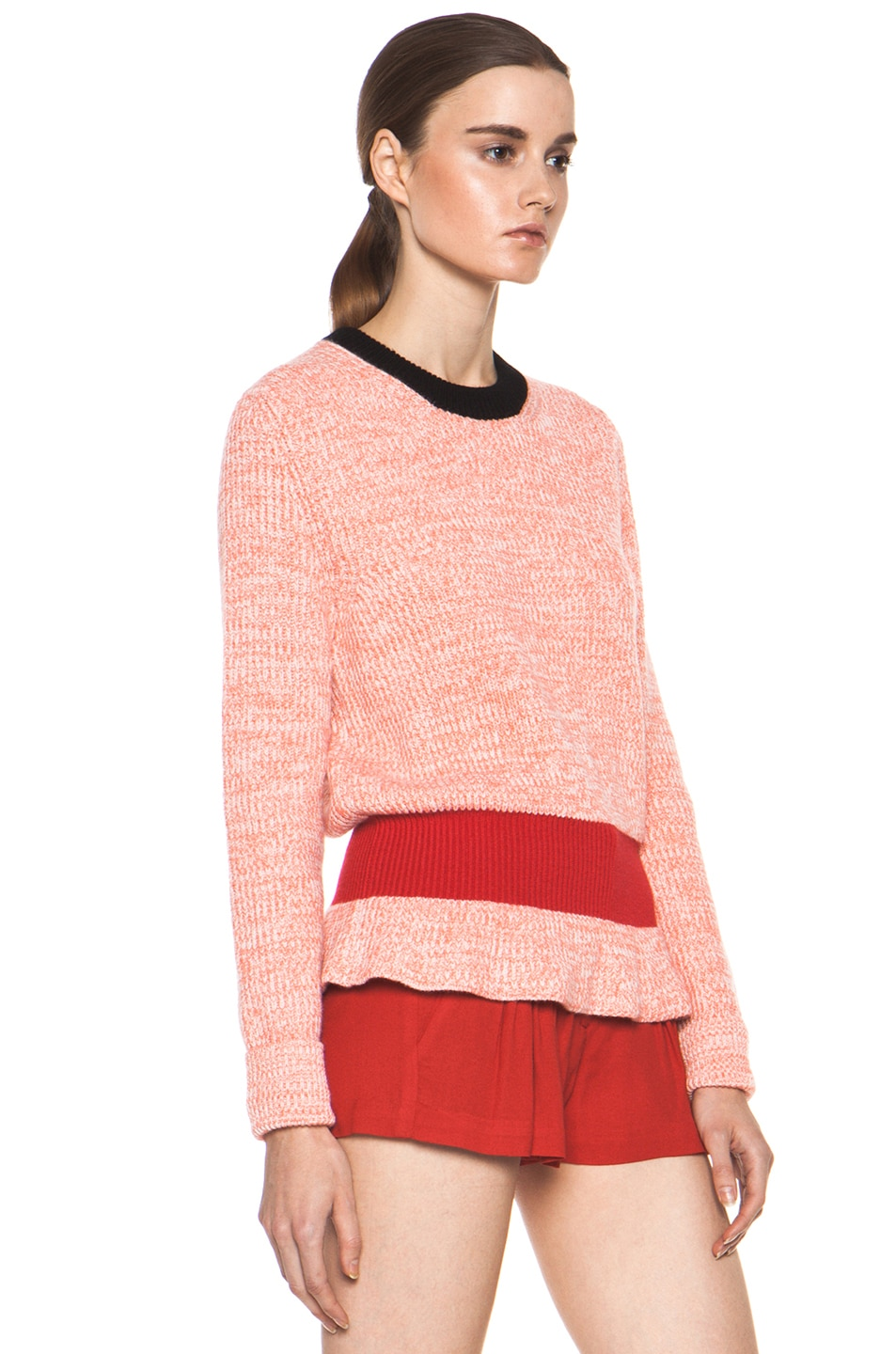 Image 3 of Chloe Cashmere Color Block Rib Sweater in Coral & Red & Navy
