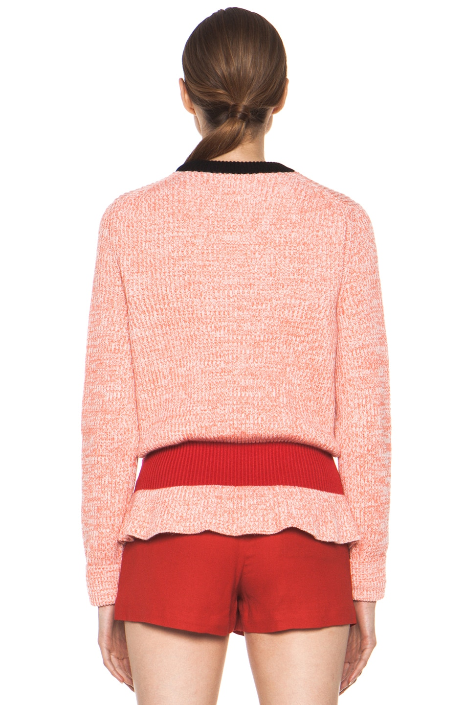 Image 4 of Chloe Cashmere Color Block Rib Sweater in Coral & Red & Navy