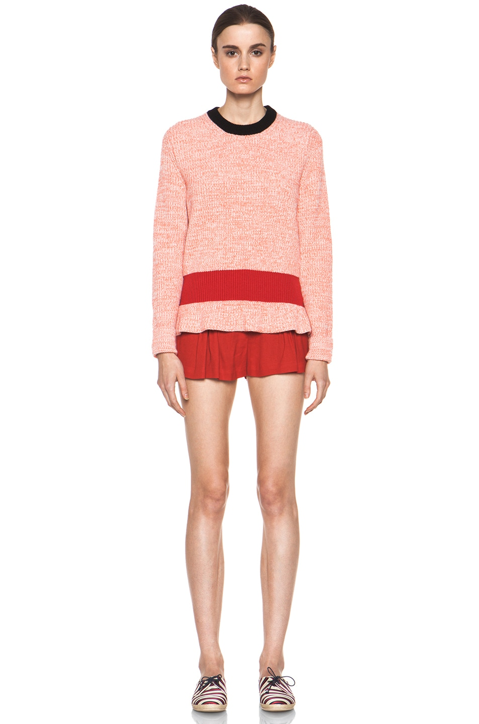 Image 5 of Chloe Cashmere Color Block Rib Sweater in Coral & Red & Navy