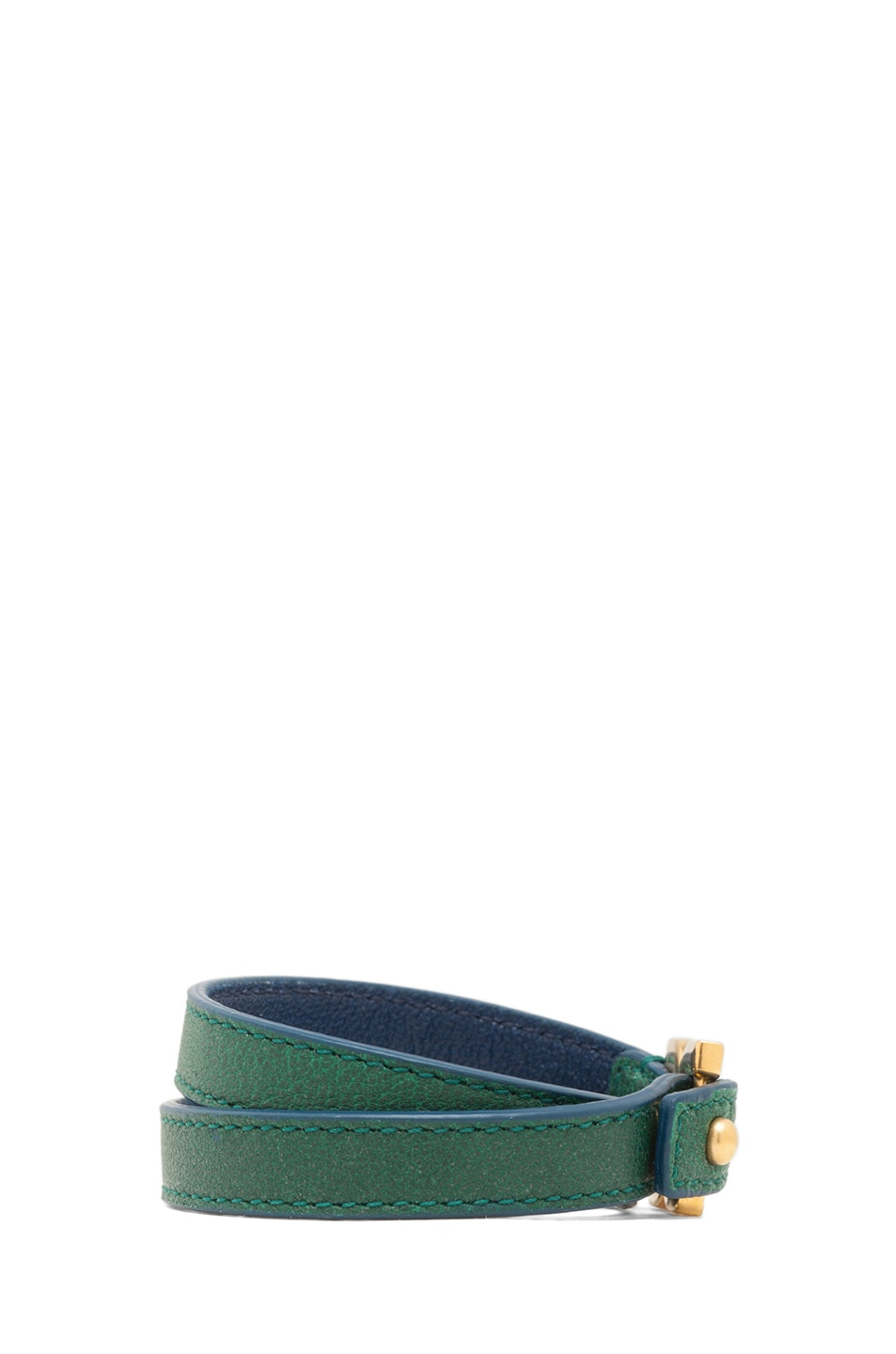 Image 2 of Chloe Marcie Leather Wrap Bracelet in Racing Green