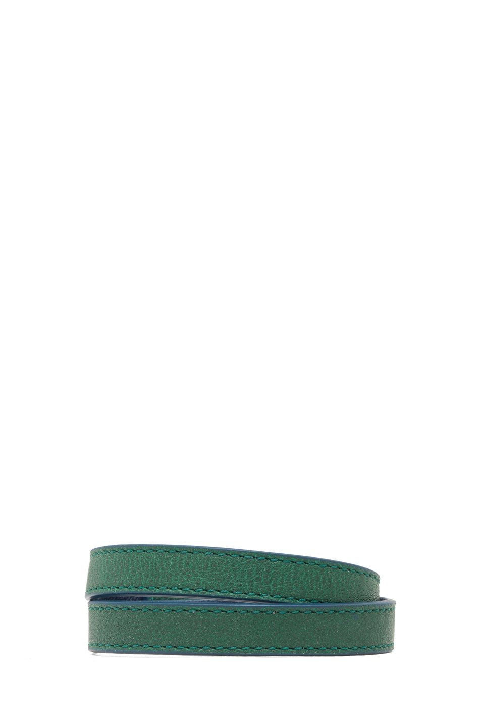 Image 3 of Chloe Marcie Leather Wrap Bracelet in Racing Green