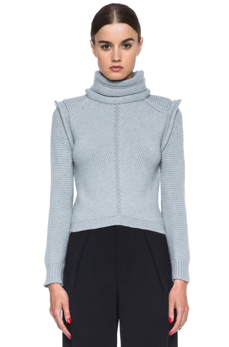 Image 1 of Chloe Cropped Wool-Blend Turtleneck in Light Grey