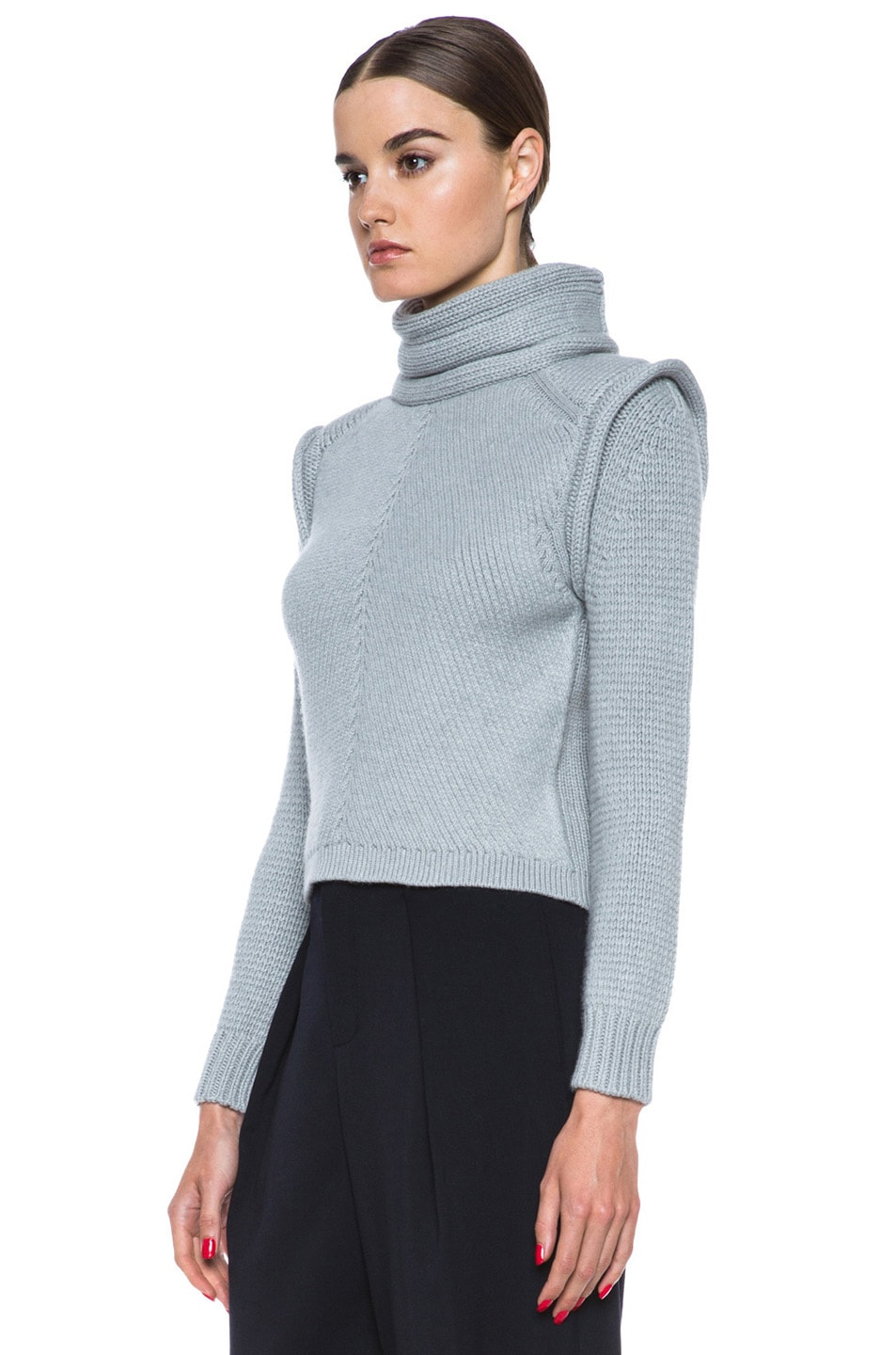 Image 2 of Chloe Cropped Wool-Blend Turtleneck in Light Grey