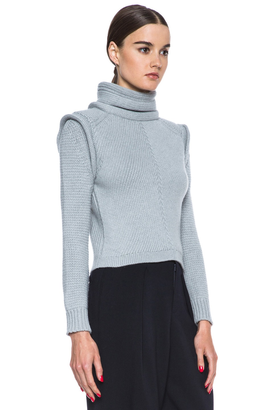 Image 3 of Chloe Cropped Wool-Blend Turtleneck in Light Grey
