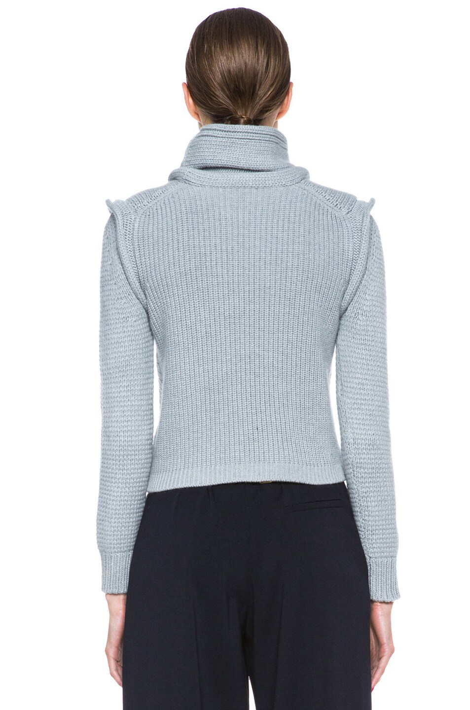Image 4 of Chloe Cropped Wool-Blend Turtleneck in Light Grey