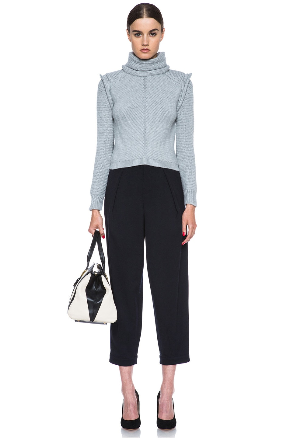 Image 5 of Chloe Cropped Wool-Blend Turtleneck in Light Grey