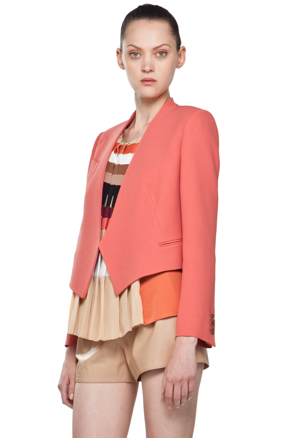 Image 2 of Chloe Crepe Cropped Blazer in Rose