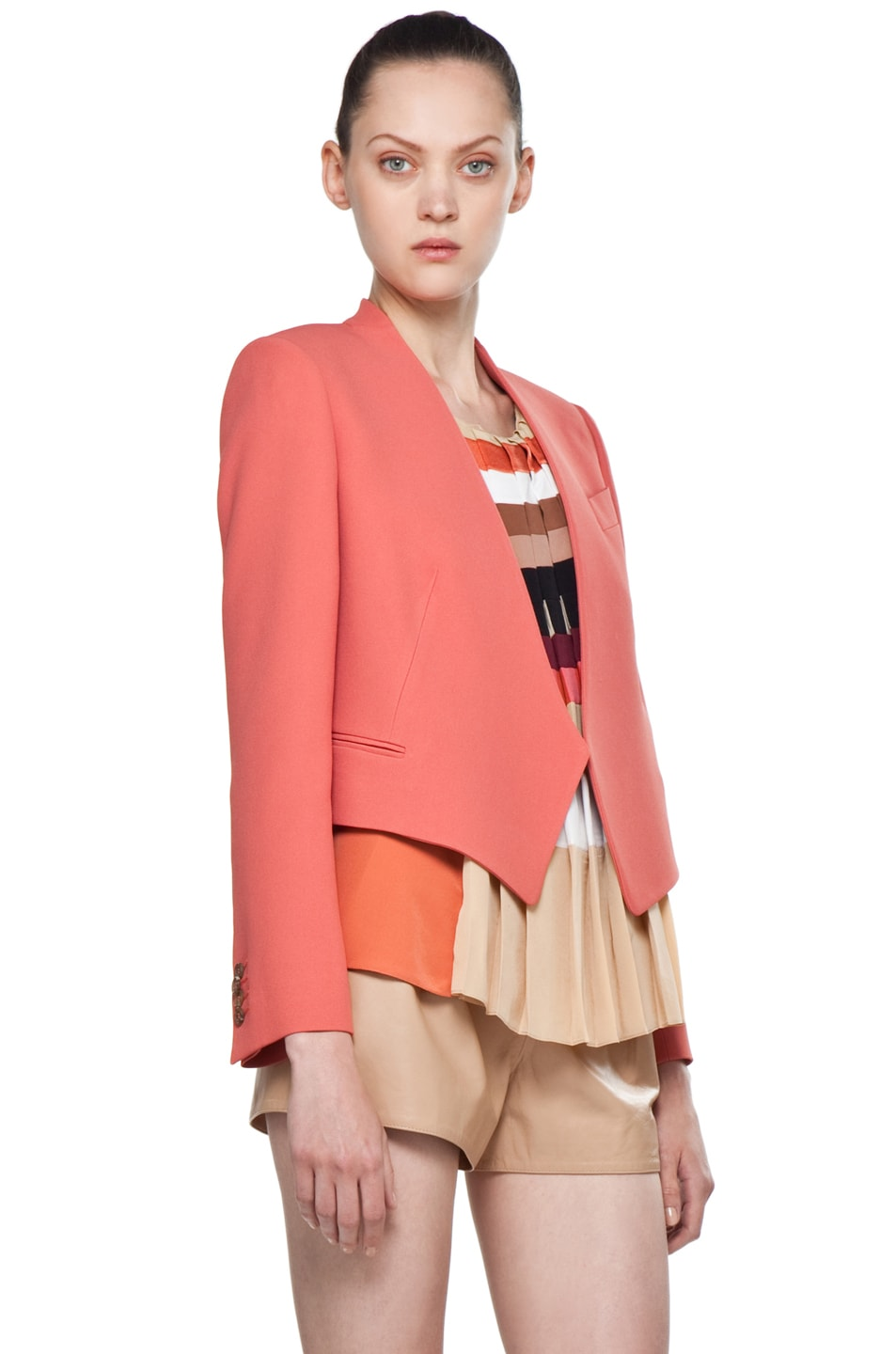 Image 3 of Chloe Crepe Cropped Blazer in Rose