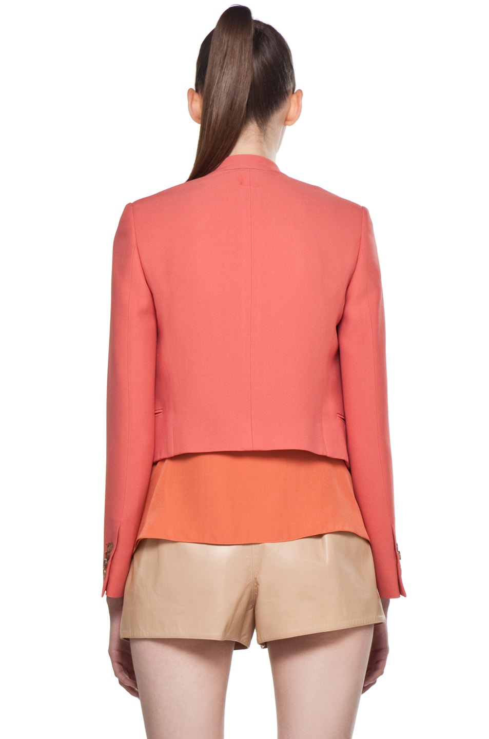 Image 4 of Chloe Crepe Cropped Blazer in Rose