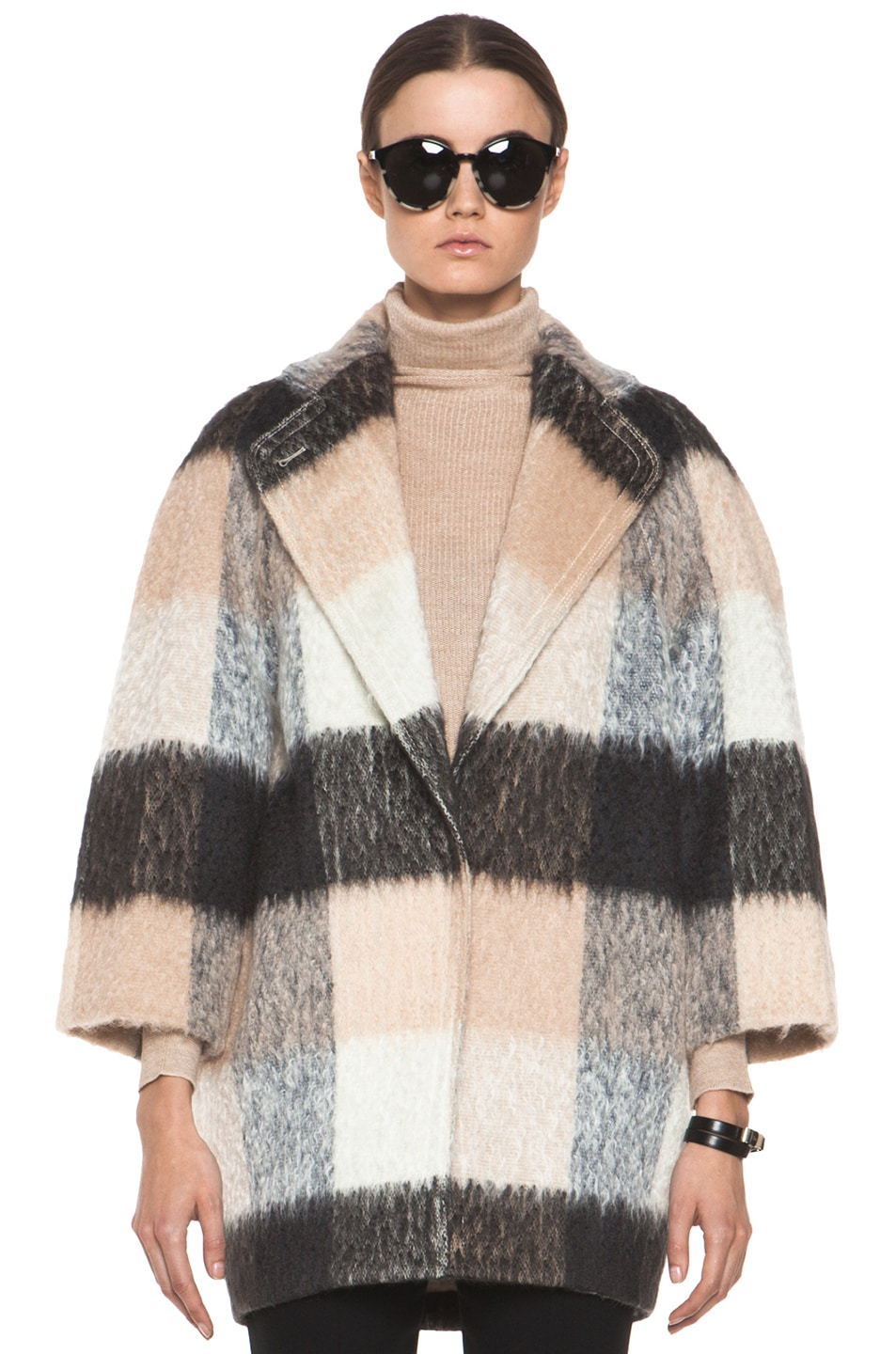 Image 2 of Chloe Check Mohair Coat in Multi