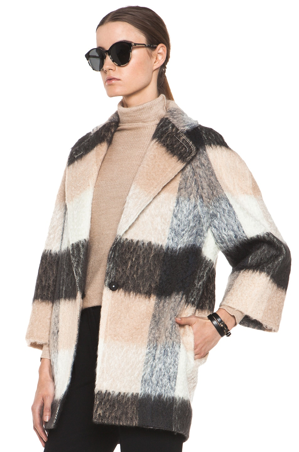 Image 3 of Chloe Check Mohair Coat in Multi