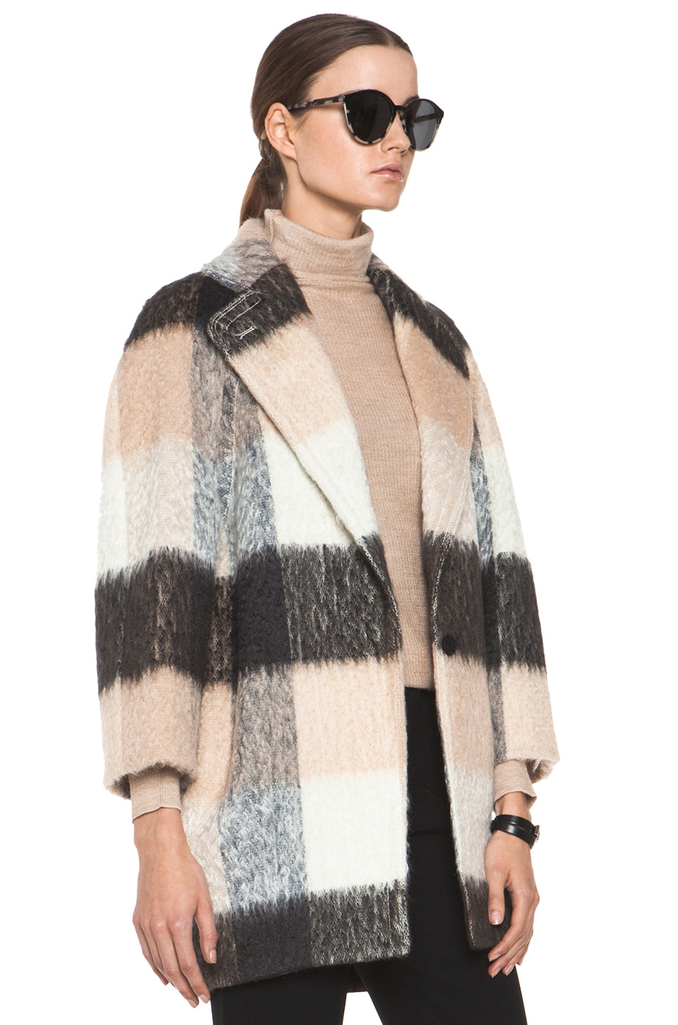 Image 4 of Chloe Check Mohair Coat in Multi