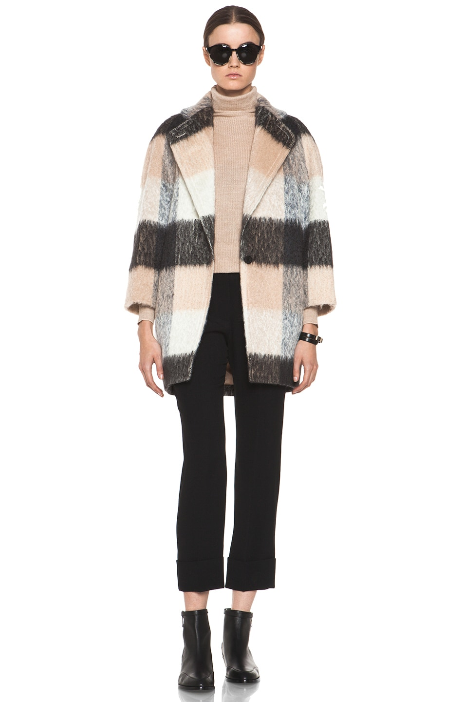 Image 6 of Chloe Check Mohair Coat in Multi