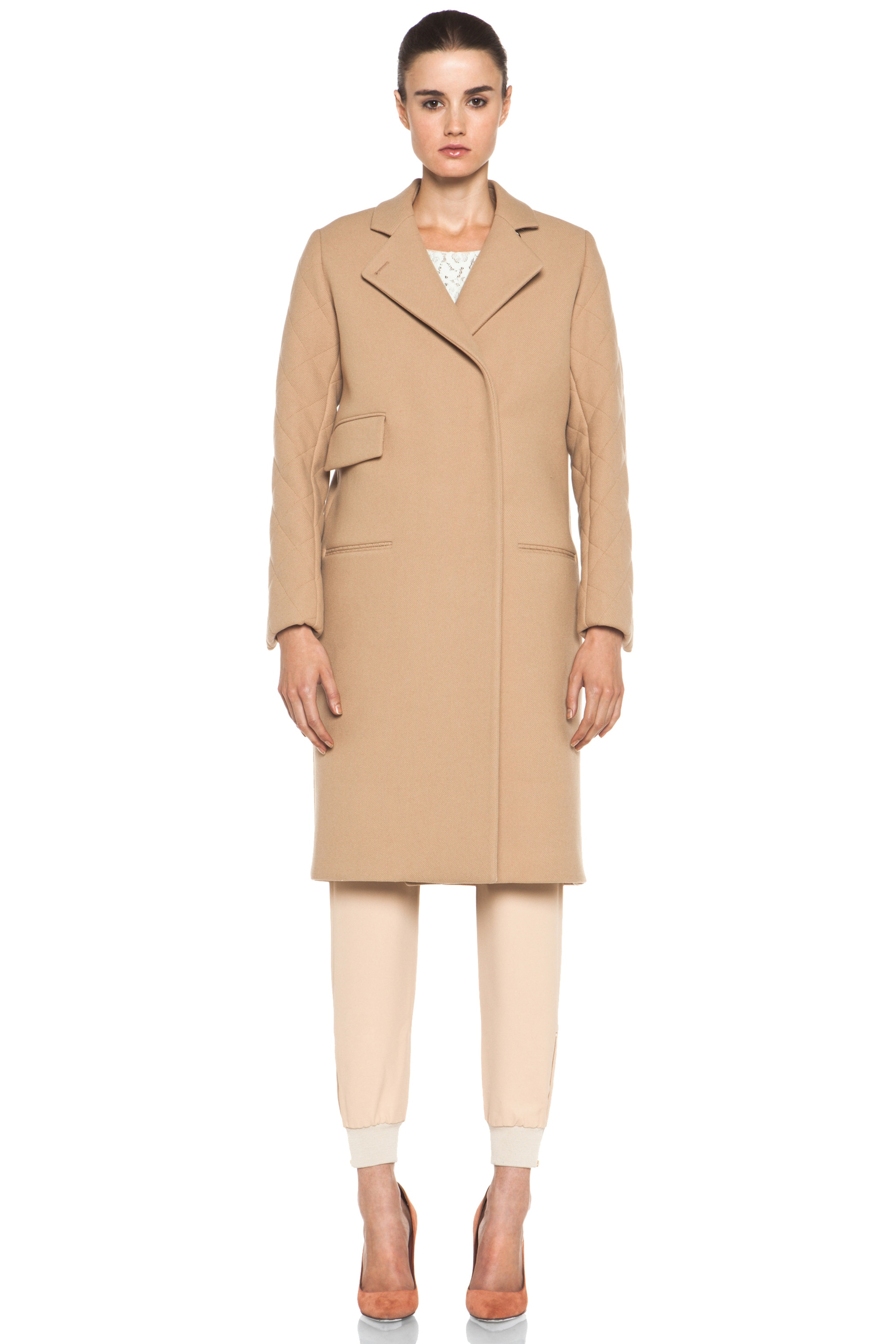 Image 2 of Chloe Quilted Arm Coat in Camel