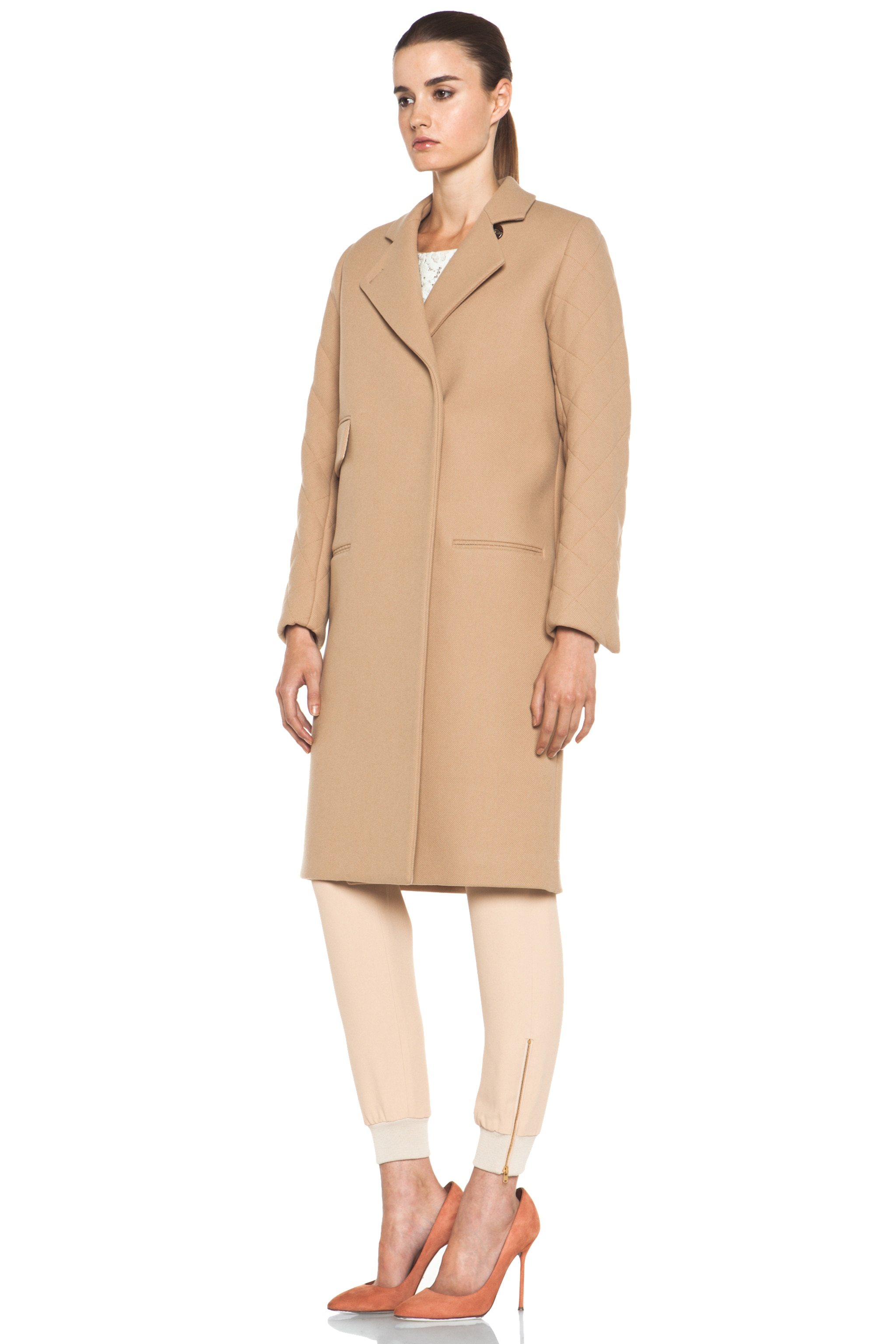 Image 3 of Chloe Quilted Arm Coat in Camel
