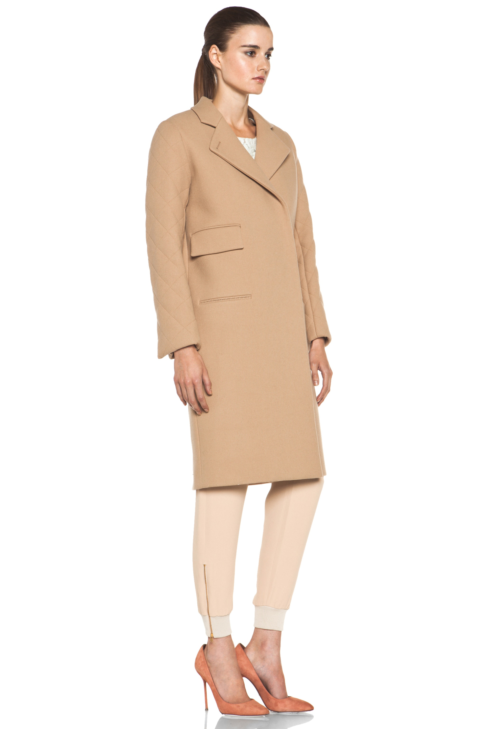 Image 4 of Chloe Quilted Arm Coat in Camel