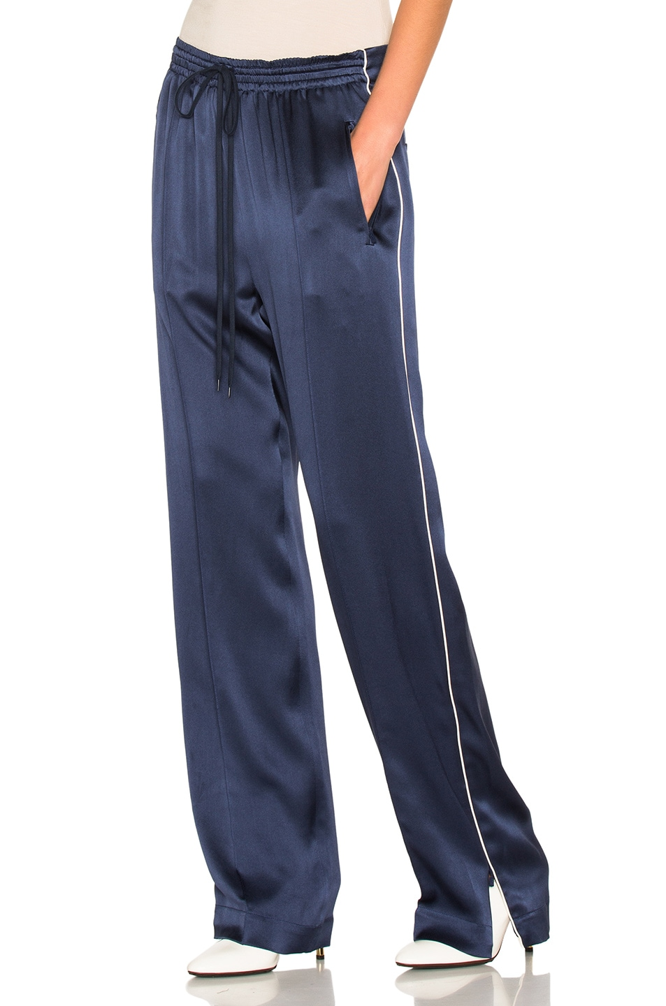 Image 1 of Chloe Crepe Envers Satin Trousers in Ocean Blue