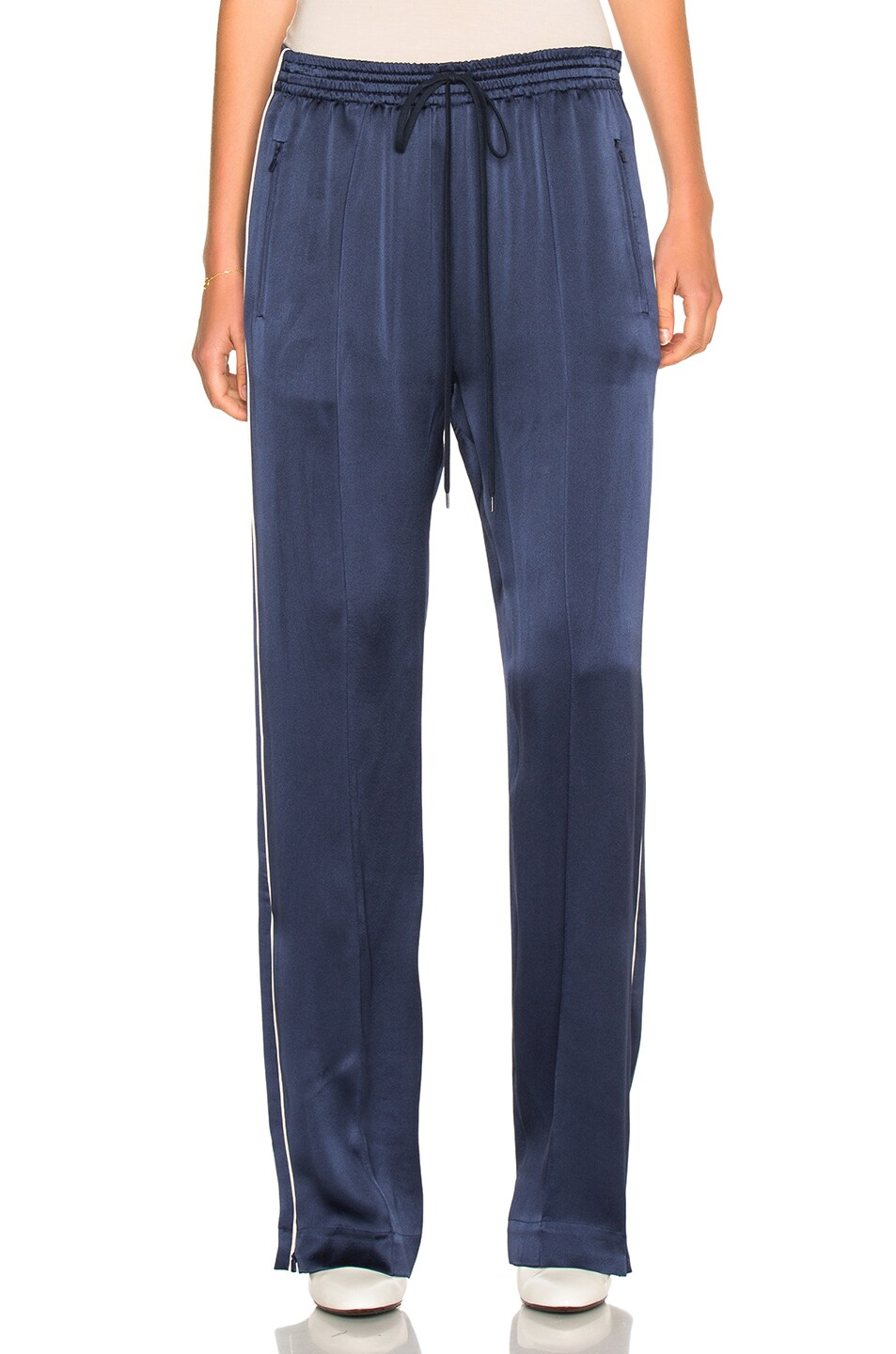 Image 2 of Chloe Crepe Envers Satin Trousers in Ocean Blue