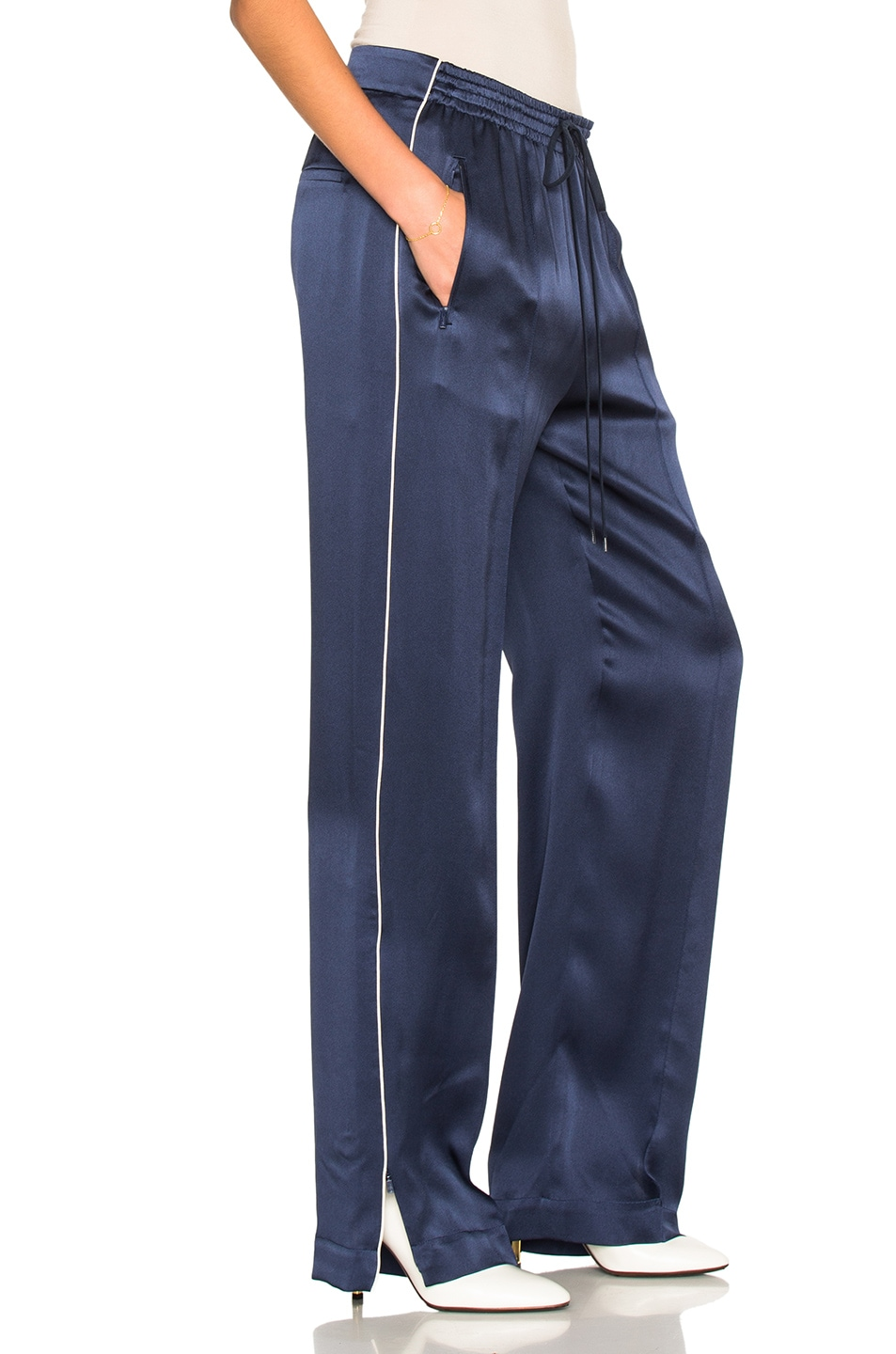 Image 3 of Chloe Crepe Envers Satin Trousers in Ocean Blue