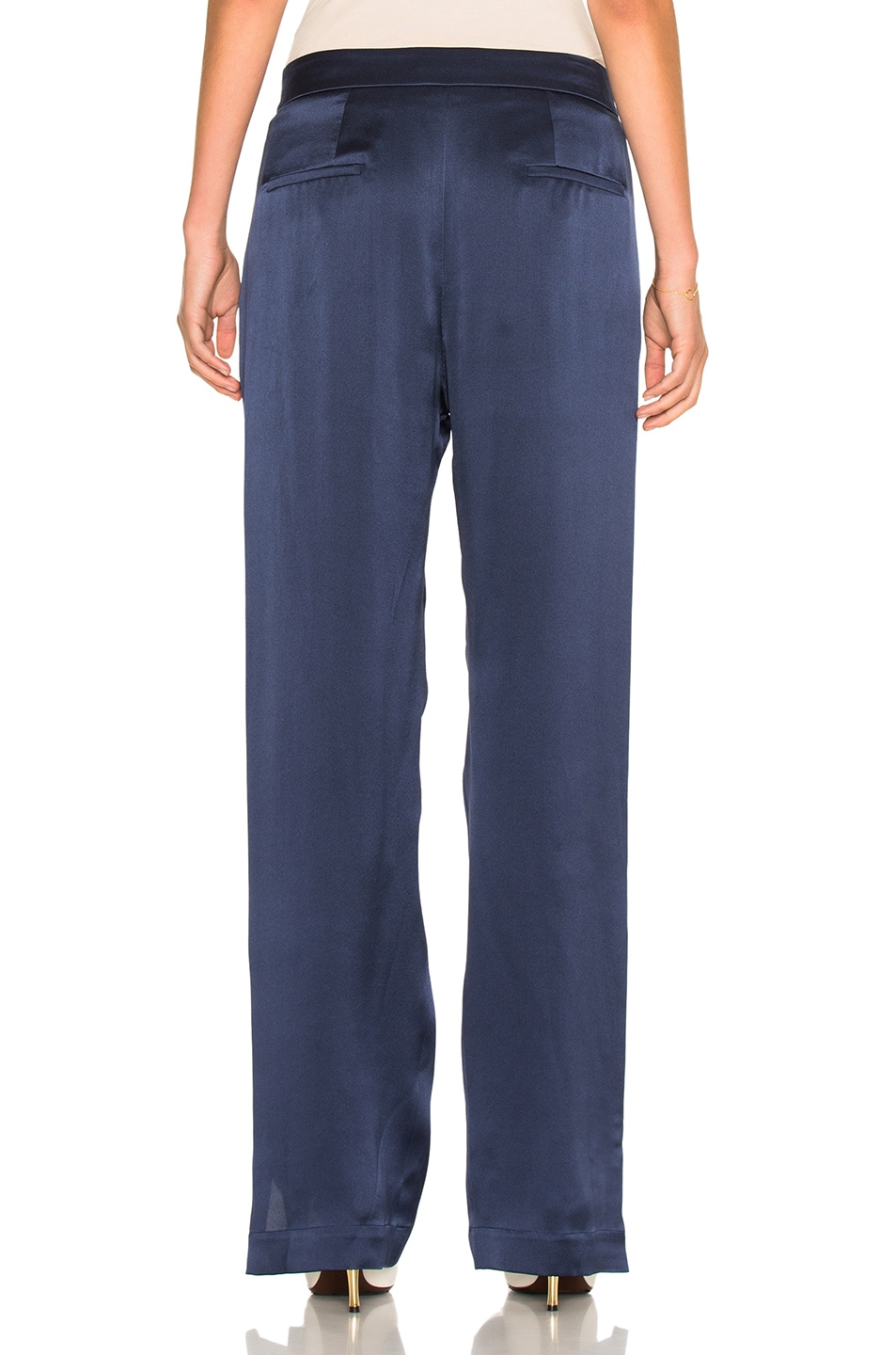 Image 4 of Chloe Crepe Envers Satin Trousers in Ocean Blue