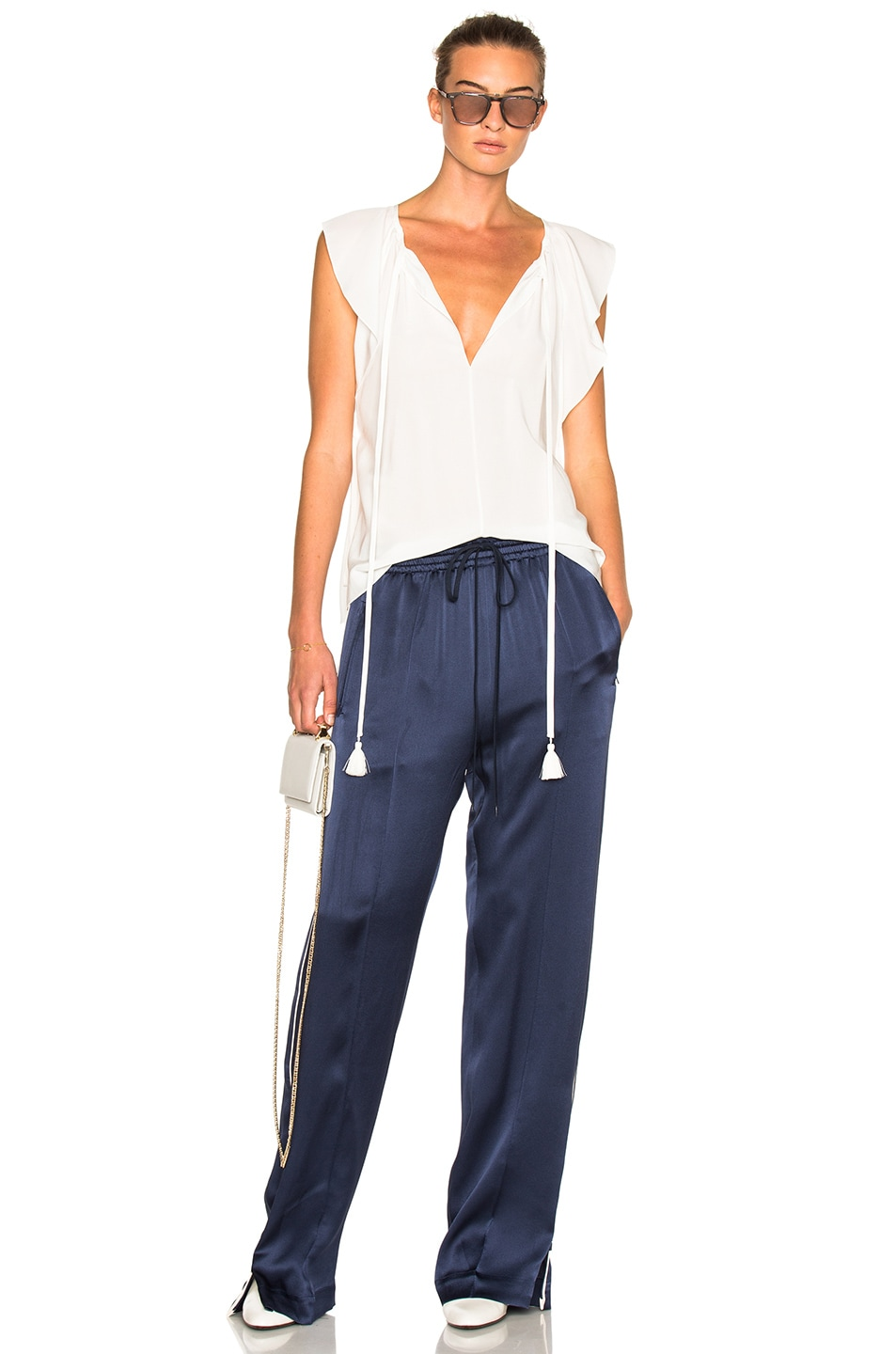 Image 6 of Chloe Crepe Envers Satin Trousers in Ocean Blue