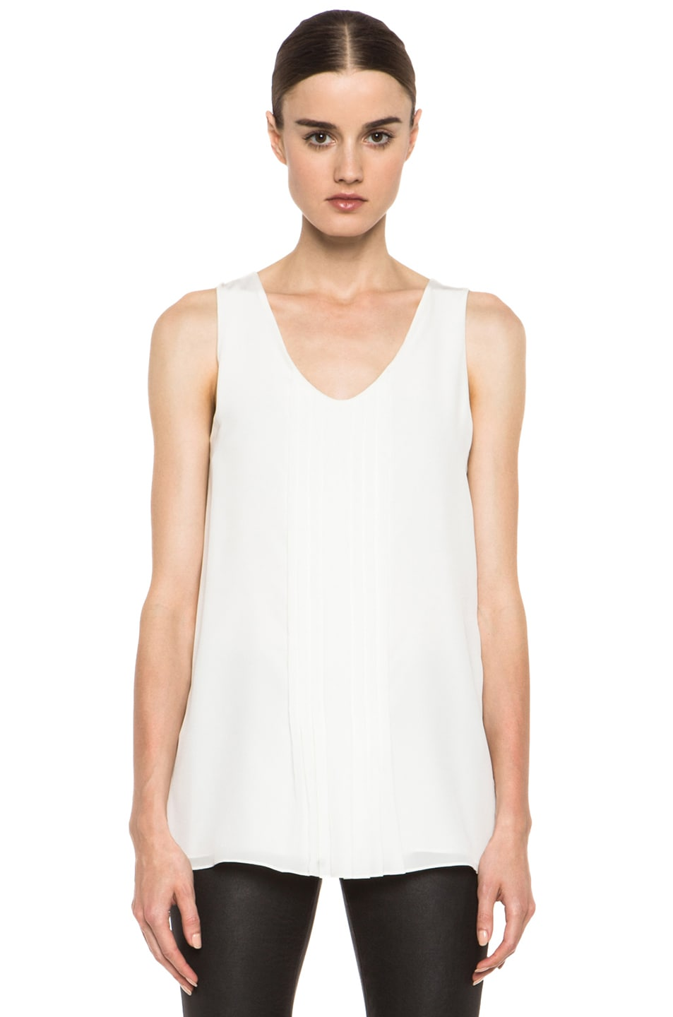 Image 1 of Chloe Pleated Tank in White
