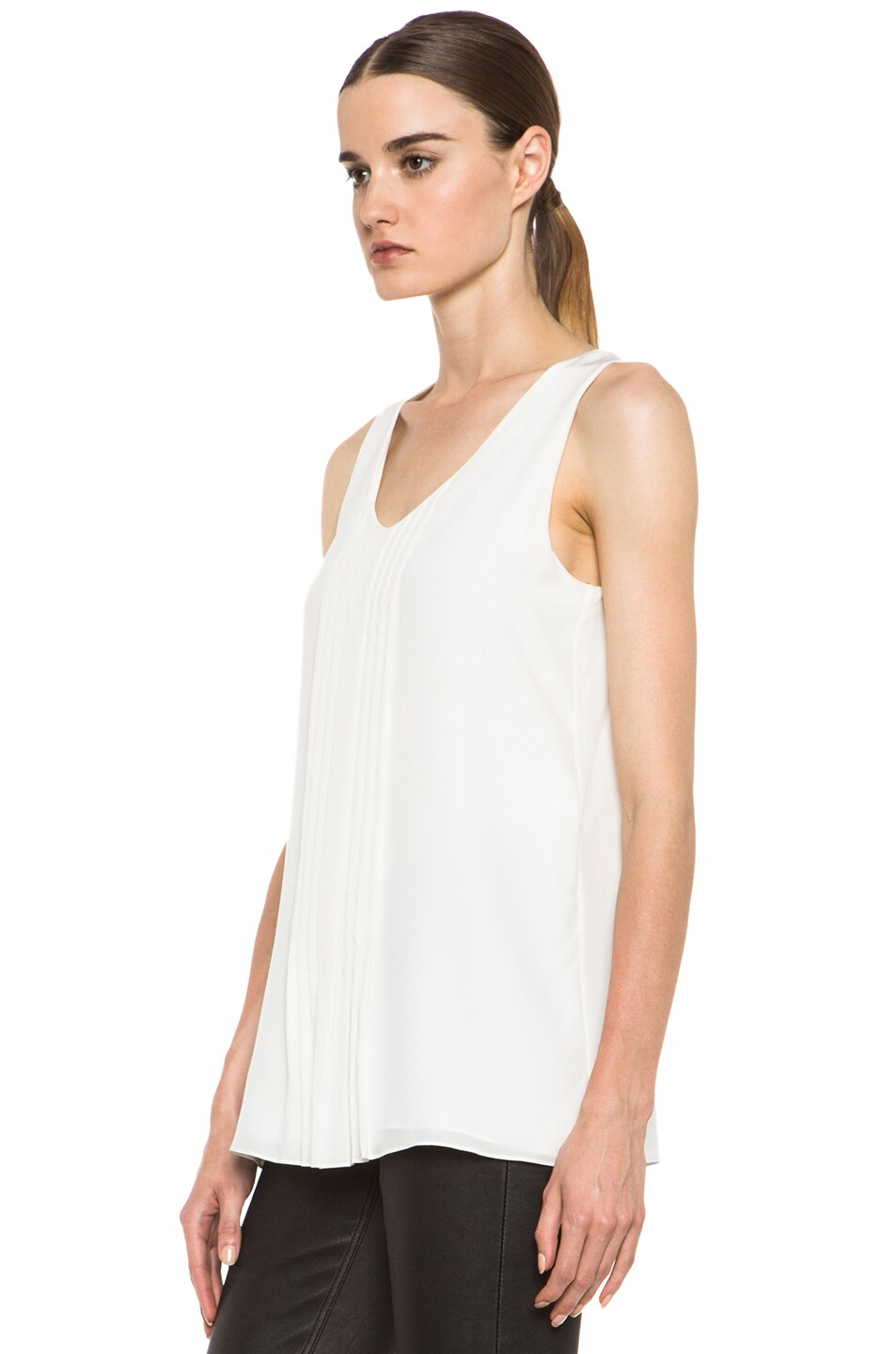 Image 2 of Chloe Pleated Tank in White