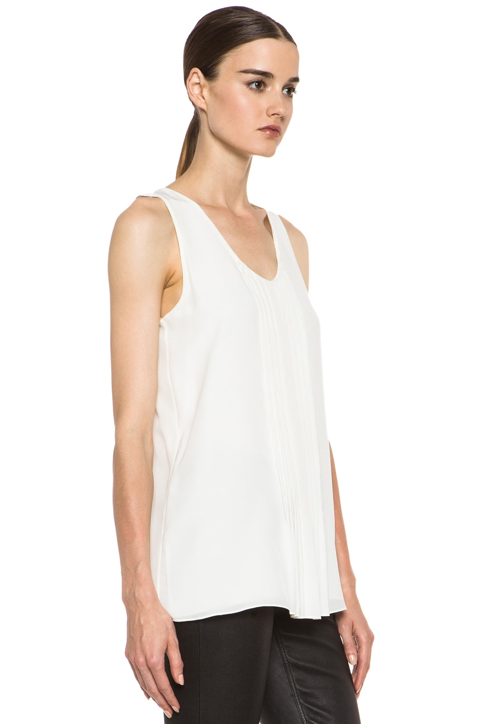 Image 3 of Chloe Pleated Tank in White