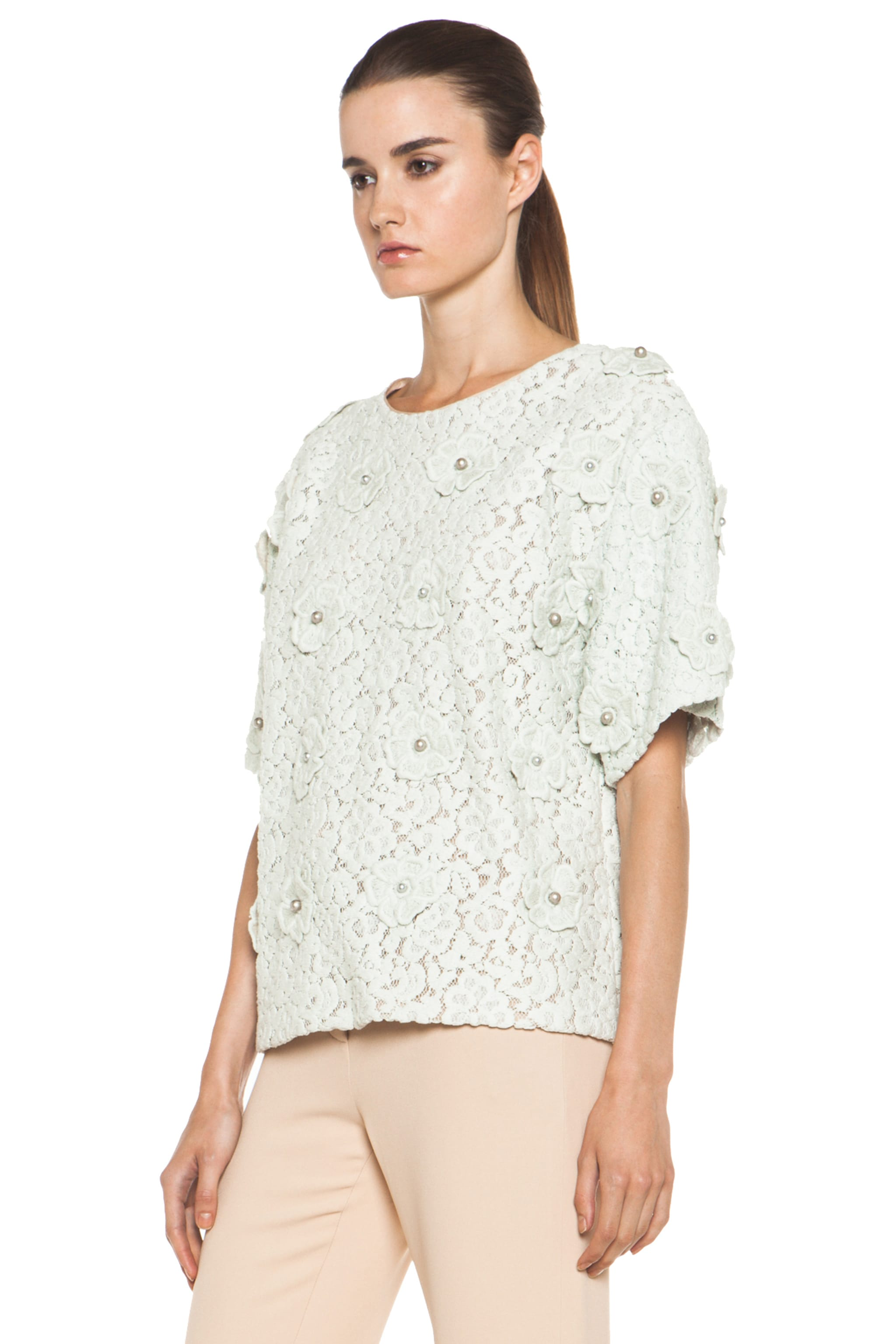 Image 2 of Chloe Lace Applique Top in Light Grey