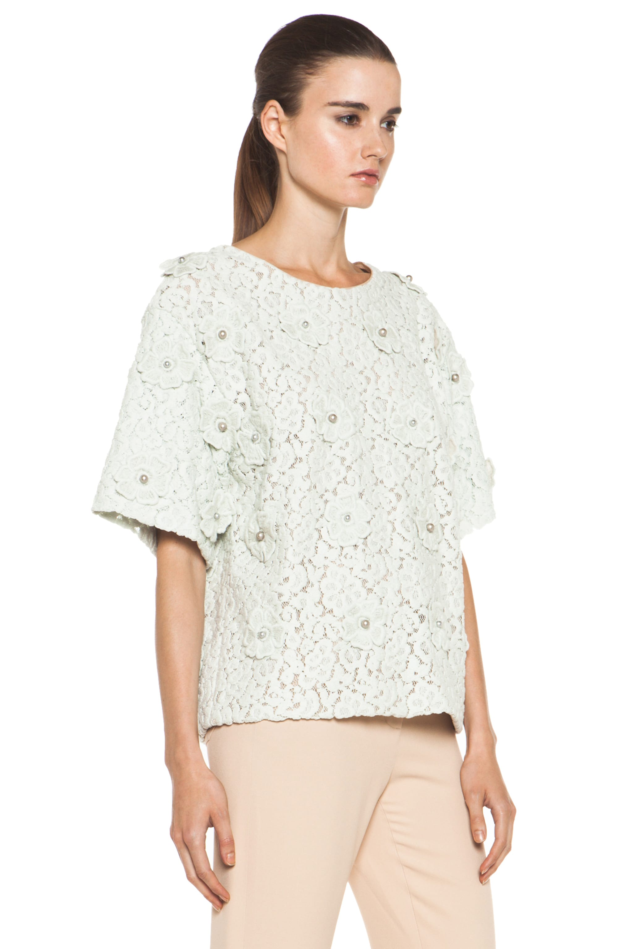Image 3 of Chloe Lace Applique Top in Light Grey