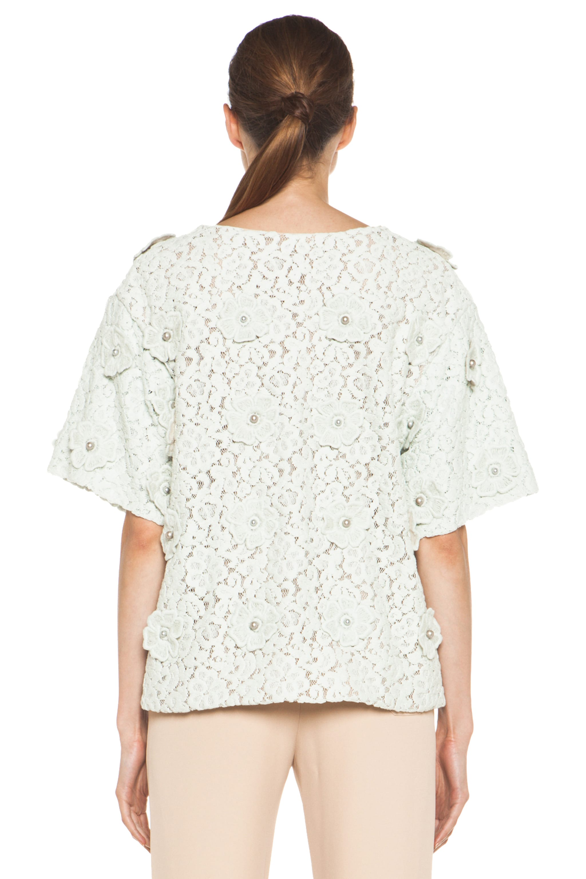 Image 4 of Chloe Lace Applique Top in Light Grey