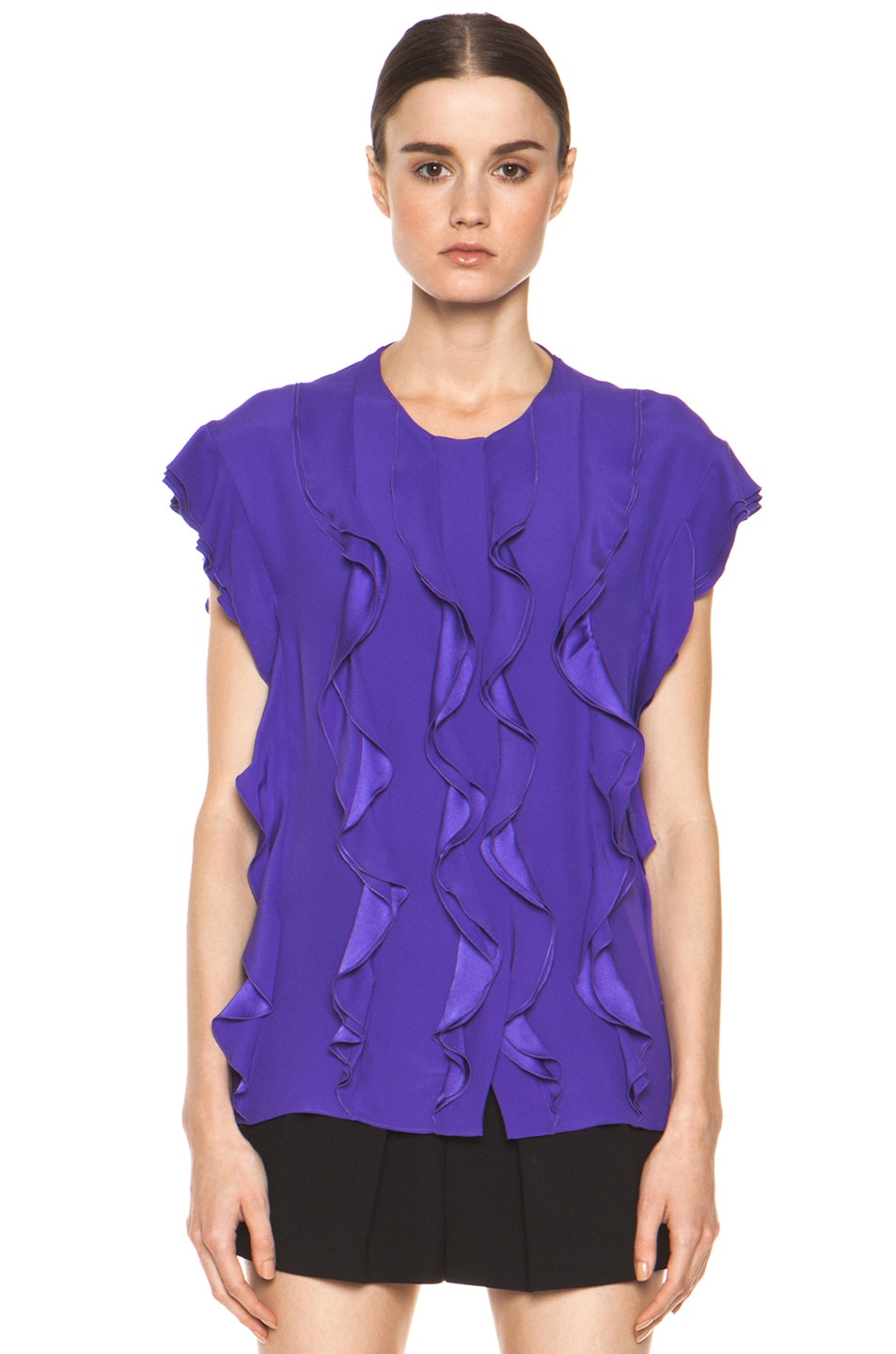 Image 2 of Chloe Silk Ruffle Blouse in Purple