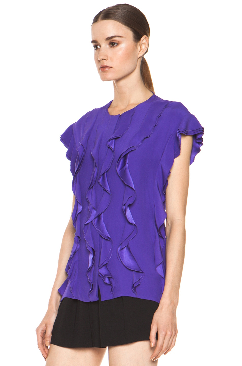 Image 3 of Chloe Silk Ruffle Blouse in Purple