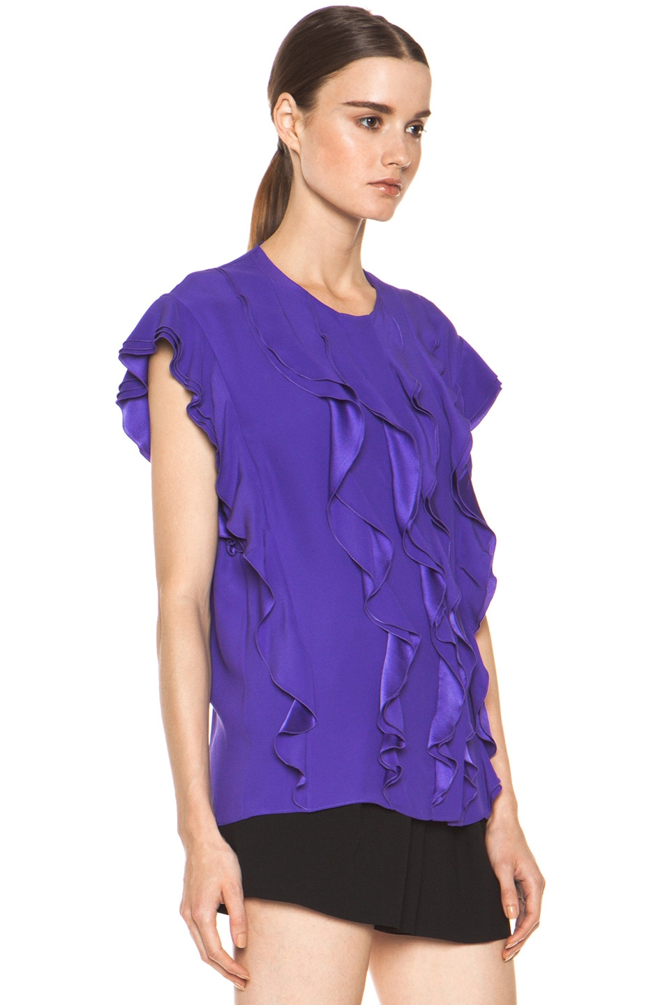 Image 4 of Chloe Silk Ruffle Blouse in Purple
