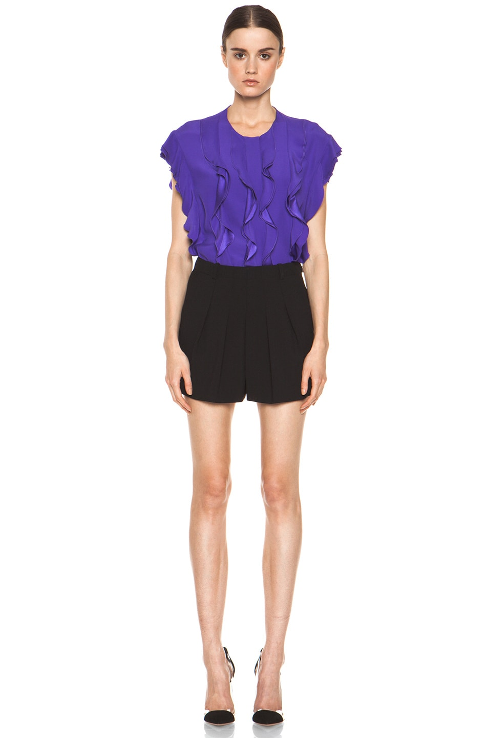 Image 6 of Chloe Silk Ruffle Blouse in Purple