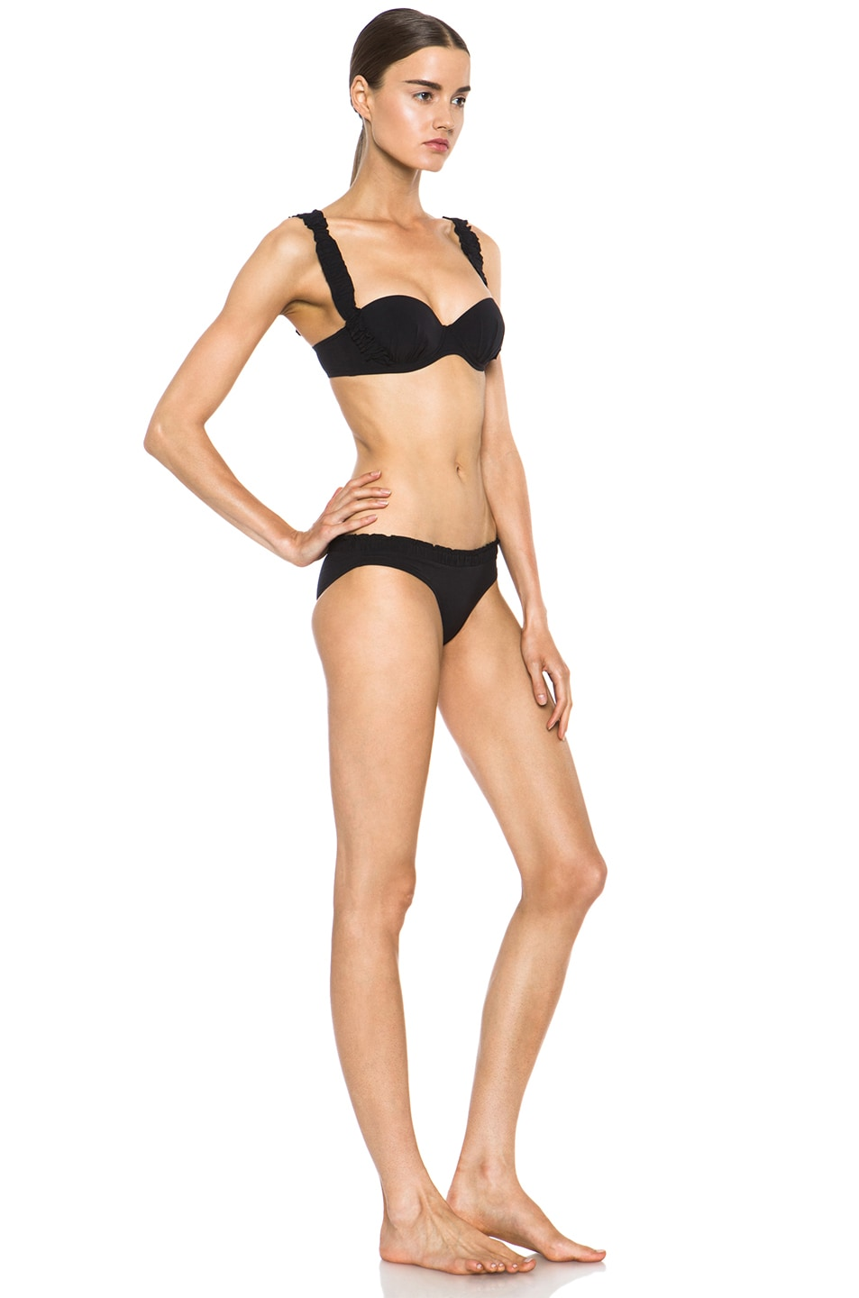 Image 3 of Chloe Poly-Blend Ruched Detail Bikini in Black