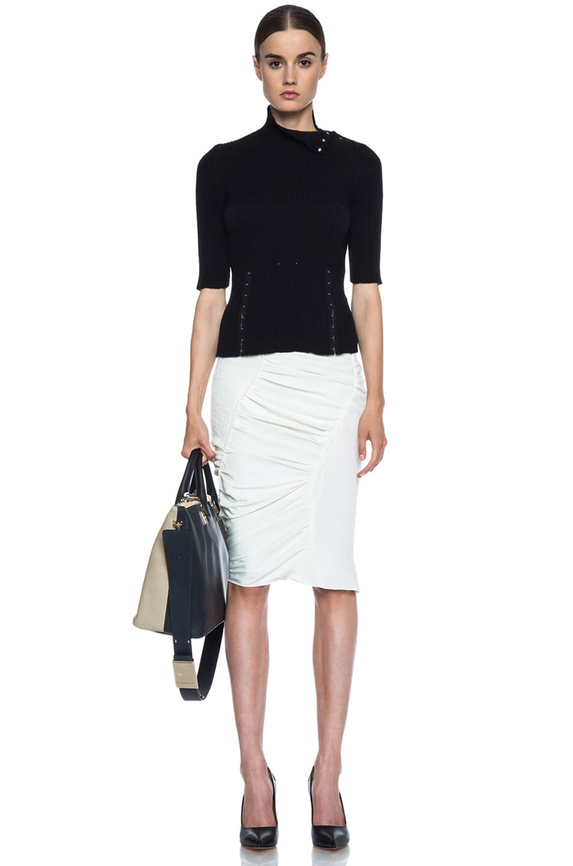 Chloe Medium Baylee Shoulder Bag in Marshmallow Grey \u0026amp; Black | FWRD